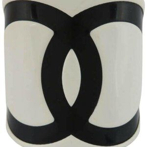 Chanel 01P CC Bangle Cuff Bracelet White Black